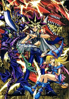 Yu-Gi-Oh! Duel Monsters - Atem with Saint Dragon - God of Osiris,Buster Blader, Black Magician, and Black Magician Girl Yugioh Monsters, Anime Monsters, Anime Love, Anime Guys, Manga Art, Anime Art, Mago Anime, Yugioh Dragons, Arte Nerd