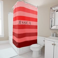 #customized - #Red Striped Pattern Personalized Name Shower Curtain