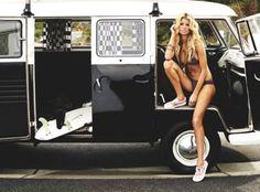 Surfer Girl & Super Model ~ Marisa Miller and VW Bus