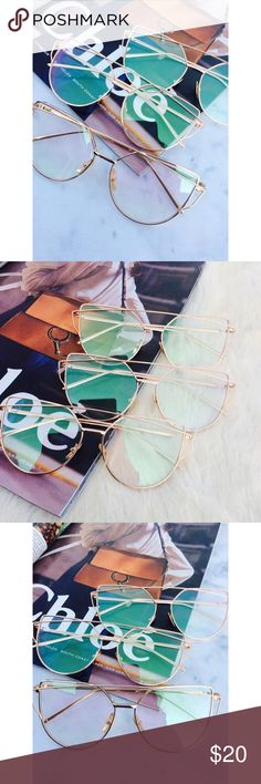 New Arrival-Aviator Sunglasses, Cat Eye Sunglasses Clear Cat Eye Aviator Sunglasses. This listing is for a pair of Cat Eye aviator sunshades. Retro Sunglasses. Wire sunglasses. Trending sunglasses. UV protection. Gold frames. Top quality! Brand new! Bundle and save!                                                                       ✨1 for $20, 2 for $30, 3 for $40✨ тнαик уσυ Accessories Glasses