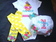 1ST BIRTHDAY Bodysuit, Bloomers and Leg Warmers Set -  Orange, Yellow, Bright Blue and Pink with Cupcake on Etsy, $45.95