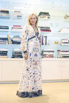 """Friday, July 17  """"End the week on a high note in this stylish printed gown from our Pre-Fall Runway collection."""" —Lubov Azria"""