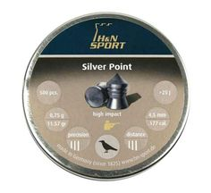 H/&N Sport Silver Point Pellets.25 cal 24.38 gr Pointed 150 pcs