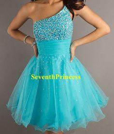 Homecoming Dress One Shoulder Organza Short by seventhprincess, $97.00