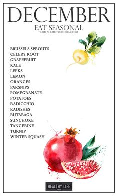 #December ☆ Eat food that is in season and reap the benefits. More vitamins, minerals, antioxidants and save money too. There are many good reasons to eat seasonally but the two really big reasons are, its good for you and it is good for the environment. You will also get the best tasting food because it will be the freshest possible, giving optimal flavor.