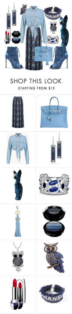 """""""Blue Crush"""" by ellenfischerbeauty ❤ liked on Polyvore featuring Mother of Pearl, Hermès, Boohoo, Ivanka Trump, BillyTheTree, Sophie Hulme, Giorgio Armani, Adoriana, Guerlain and Chanel"""