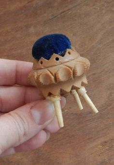 Antique Pin Cushion Hand Carved Vegetable Ivory & Blue Velvet Chair Late 1800's Early 1900's Sewing Collectible Victorian Shabby Chic by OffbeatAvenue on Etsy