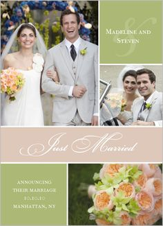 Courtly Collage Mint Wedding Announcement