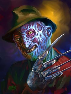 From the depths of hell comes Freddy Krueger. I have gotten requests in the past for a Freddy painting. Freddy Krueger, Robert Englund, Horror Icons, Horror Films, Horror Villains, Arte Horror, Horror Art, Zombie Vampire, Horror House