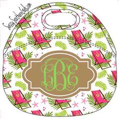 Monogrammed Lilly Pulitzer Inspired Lunchbox by SassySouthernGals