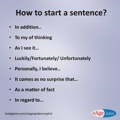 Ways to Start Sentences English Speaking Skills, English Writing Skills, Learn English Grammar, English Vocabulary Words, Learn English Words, English Phrases, English Language Learning, English Lessons, Teaching English