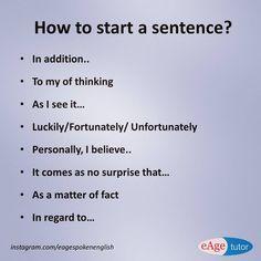 Ways to Start Sentences #start #sentences #englishlearning #eagespokenenglish