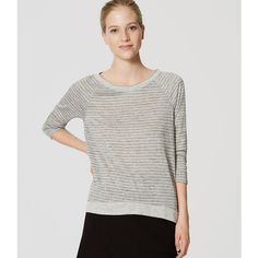 LOFT Striped 3/4 Sleeve Tee ($40) ❤ liked on Polyvore featuring tops, t-shirts, slate heather, round neck t shirts, 3/4 sleeve t shirts, burnout tees, burn out t shirt and loft t shirt