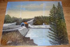 VINTAGE FOLK ART PRIMITIVE COVERED BRIDGE POND LAKE CABIN SNOW COUNTRY PAINTING #Impressionism