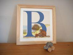 B for Beaver Nursery Alphabet Art Unframed by huxleyjonesdesigns