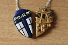 Tardis and Dalek Inspired Friendship by CharmingClayCreation, £10.00