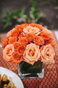 Modern orange centerpiece | Austin, TX | Mayfield Park | @Liv May & june | Nathan Russell Photography | #Wedding