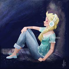 "Elsa listening to music by banana-fox.deviantart.com on @DeviantArt - From ""Frozen""; Modern-day AU"