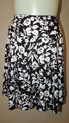 Chaps Size 14 Black/White 100% Cotton Floral Above Knee A-Line Skirt EUC #Chaps #ALine