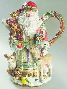 Fitz/Floyd Enchanted Holiday Santa Teapot & Lid