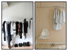 Yet Another good idea for Hanging clothes Hanging Clothes Rail, Hanging Racks, Hanging Storage, Clothes Hanger, Clothes Rod, Diy Hanging, Branch Curtain Rods, Small Closets, Trendy Tree