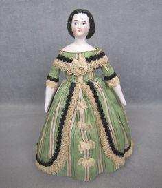 """c1860s China Head Lady Doll Jenny Lind 9"""" Cabinet Size Gorgeous Eyes from joysdolls on Ruby Lane"""