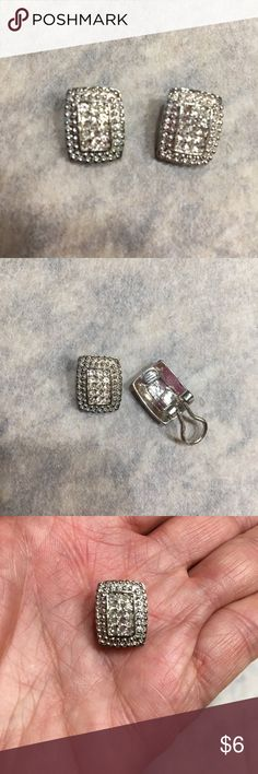 "Faux Diamond Clip On Earrings Worn once and in excellent condition. All the sparkly ""diamonds"" are in tact. Great for NYE! Jewelry Earrings"