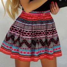 Aztec printed skirt.