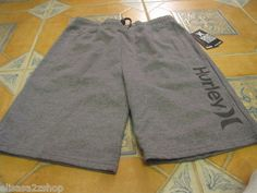 Men's Hurley active sweat shorts small S SM grey NEW NWT side logo draw string