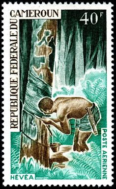 Rubber harvest, an airmail stamp designed and engraved by Michel Monvoisin, and issued by Cameroun on June 5, 1968 as one of a set of five stamps publicizing economic development, Scott No. C105.