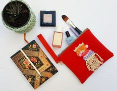 Unique zipper pouch, Red velvet bag with hand weaved applique, Cosmetic bag, Make up pouch, Red wristlet, Clutch with starp, Small purse Handmade Jewelry, Unique Jewelry, Handmade Gifts, Presents For Her, Bubble Envelopes, Absolutely Fabulous, Zipper Pouch, Cosmetic Bag, Wristlets