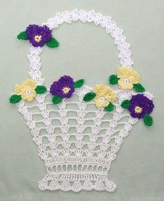Original Designs By:Maggie Weldon Intermediate Skill Materials: Size 10 Crochet Cotton Thread: Violet Doily White (MC) - 63 yds meters) Variegated Purples (A) - 71 yds meters) Kelly Green (B) - wellness Floral Doilies Set Crochet Pattern Crochet Borders, Crochet Motif, Diy Crochet, Crochet Crafts, Crochet Hooks, Crochet Projects, Crochet Doilies, Diy Crafts, Crochet Puff Flower