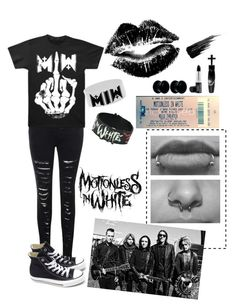 """Motionless in White concert :3"" by dadyrabbit on Polyvore featuring Manic Panic, Glamorous, Converse, Nemesis and Urban Decay"