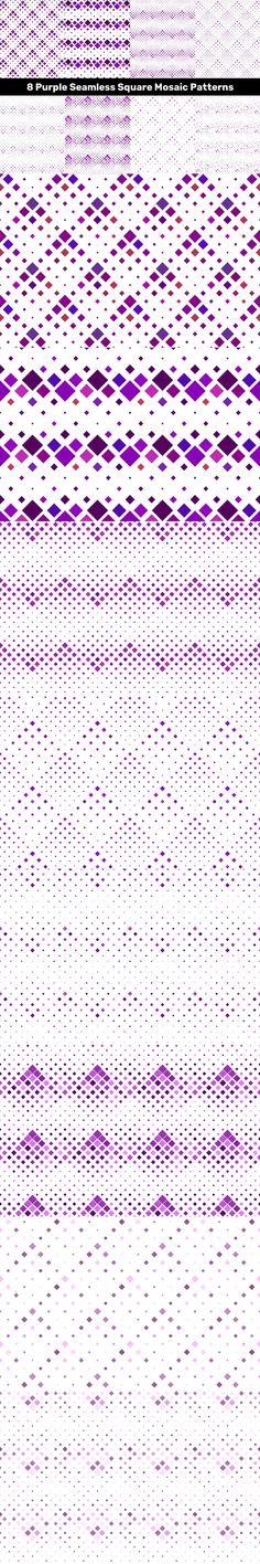 8 Purple Seamless Square Mosaic Patterns #brochure #CheapVectorBackgrounds #lavender #geometric #squarepattern #tileable #PremiumBackground #vectorgeometricalbackground #sale #CheapPattern #posterbackground #darkviolet #discount #AbstractBackground #CheapVectorPattern #BackgroundBundle #patterns #VectorPattern #seamless Vector Background, Background Patterns, Mosaic Patterns, Vector Pattern, Vector Graphics, Graphic Design, Templates, Purple, Stencils