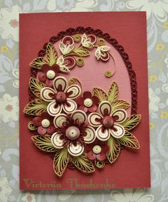 Delicated Quilling Card With stylized flowers - Lush green flowers quilled Card - Paper cutting card