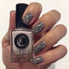 Stamped nail art with Cirque Colors' Astra and MoYou London's Steampunk 07 plate.