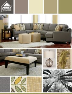 Love The Grays With The Greens Light Yellows And The Sectional Has A Cuddler
