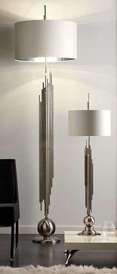 Superb Luxury Hotel Table Lamps, Ultra High End Grand Scale Designer Sculptural  Chromeu2026