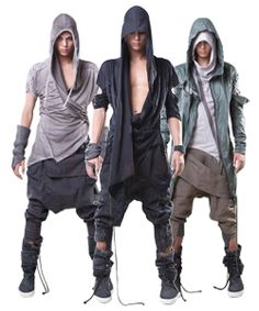 If there was a ballet about a post-apocalyptic wasteland, this is what they'd wear. Kinda like this idea but have no idea how to reference it in an unobtrusive way. Dystopian Fashion, Cyberpunk Fashion, Sewing Dress, Moda Men, Apocalypse Fashion, Post Apocalyptic Fashion, Style Masculin, Future Fashion, Dark Fashion