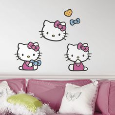 """<P>Give your room a pink makeover with some help from Hello Kitty. These foam characters add fun and a 3D effect to walls. Simply apply self-adhesive pad to back of character and press onto wall for 30 seconds. The set includes 3 foam characters plus polka dot heart and bow. The foam characters are removable but not repositionable.</P><UL><LI><B>Online Only Item</B> <LI>Includes 3 foam characters <LI>Measurements: 9.29""""L x 9.57""""H, 9.63""""L x 9.33""""H, 9.48""""L x 9.57""""H <LI>Materials…"""