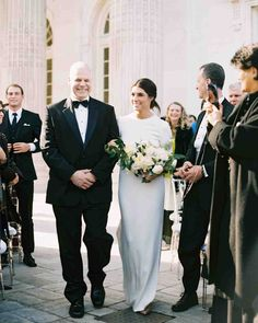 "A Modern, Black-Tie Wedding in Washington, D.C. | Martha Stewart Weddings - Arielle's father walked her down the aisle as a string quartet played ""Samskeyti"" by Sigur Rós."