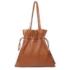 Brown Pleated Design Drawstring Shoulder Bag Fashion Bags 578a48bd19be1