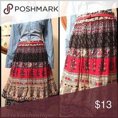 Vintage Swing Skirt Vintage Abstract  print Midi Skirt.  .  Size: Medium to XL Waist: 30-40 Length: 28 Vintage Skirts Midi