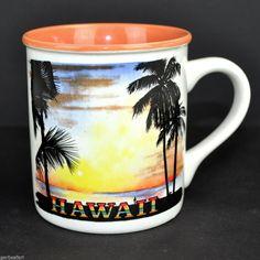 Vtg 80s Hilo Hattie Hawaii Sunset Tourist Coffee Mug Tea Cup Palm Trees Korea