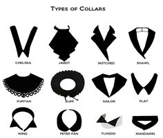 Fashion Details: Types of Collars, via Fashion Terminology, Fashion Terms, Trendy Fashion, Fashion Women, Types Of Fashion Styles, Clothes Draw, Drawing Clothes, Diy Clothes, Fashion Vocabulary