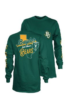 Display your Baylor Bears spirit in this Baylor Green T-Shirt! This Baylor Flynn Long Sleeve T-Shirt makes a great layer for cooler nights cheering on the Bears. Featuring a screen print team logo on left chest pocket, team name down left arm, and team graphic on back, this Baylor Bears Long Sleeve LS Tee is a must-have for any fan. Go Bears!