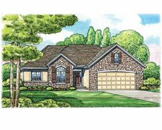 French Country House Plan with 1568 Square Feet and 3 Bedrooms from Dream Home Source | House Plan Code DHSW75671
