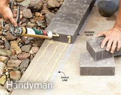 Squires Burch - don't you have a concrete patio in your back yard? how to cover a concrete patio with pavers. Concrete Patios, Cement Patio, Concrete Slab, Concrete Cover, Pavers Patio, Slate Patio, Flagstone Path, Concrete Walkway, Concrete Steps