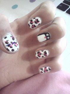 My lepard nails with a pinwin