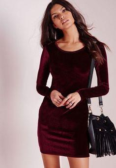 Petite Velvet Bodycon Mini Dress Oxblood Red